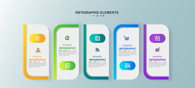 Business infographics template with 5 steps