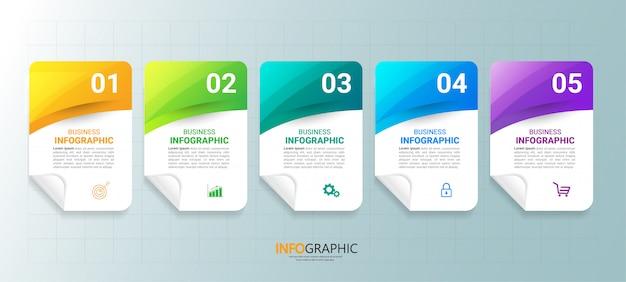 5つのステップを持つビジネスインフォグラフィックテンプレート