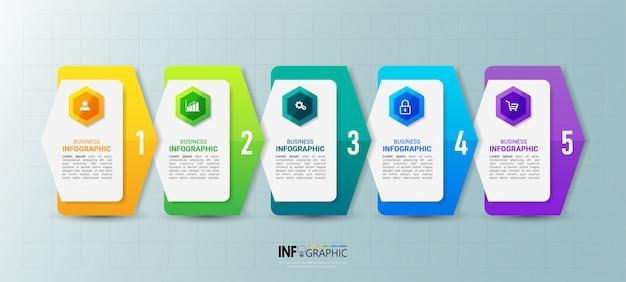 Шаблон бизнес инфографики с пятью шагами