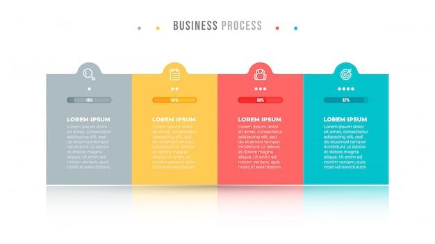 비즈니스 인포 그래픽. 아이콘과 4 개의 옵션, 단계 또는 프로세스가있는 타임 라인 디자인 사각형 템플릿.