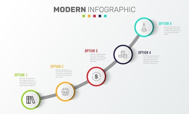 Шаблон оформления временной шкалы бизнес инфографики с иконками и 5 шагов