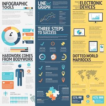 Бизнес-инфографика векторных элементов в 3 плоских бизнес-цветах