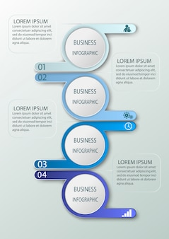 Business infographics with 4 steps, number options.