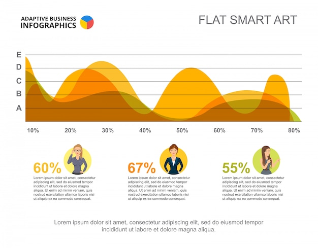 Business infographics with area chart and character icons.