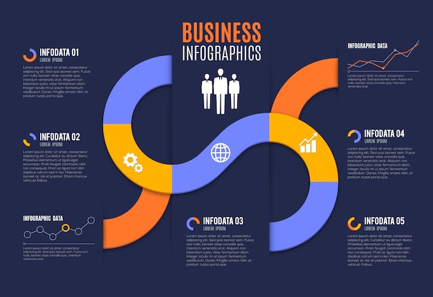 Business infographics with charts and graphs