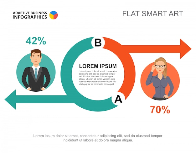 Business infographics with circle chart and businesspeople icons.