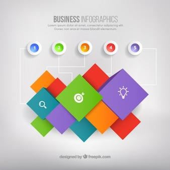 Infografica affari con quadrati colorati
