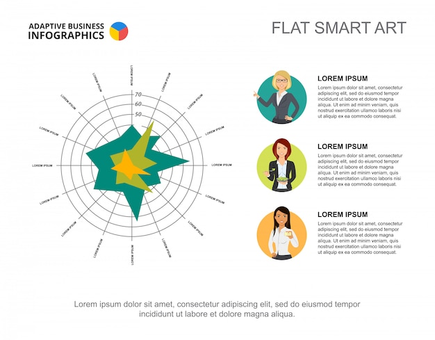 Business infographics with concentric circles and character icons.