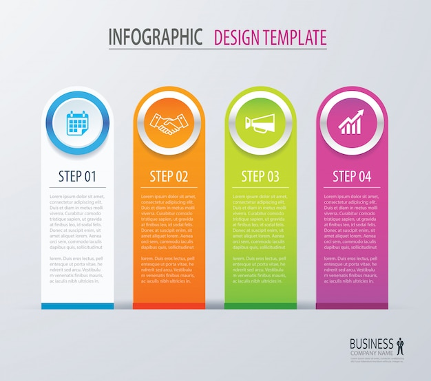 Business infographics with four steps number options.