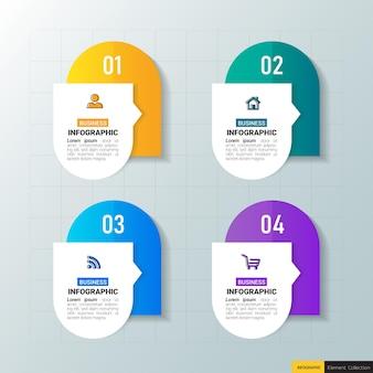 4つのステップを持つビジネスインフォグラフィック