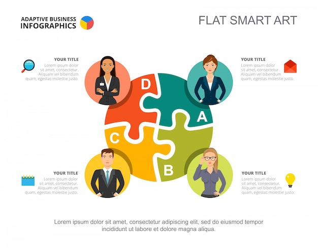 Business infographics with jigsaw chart and team icons.