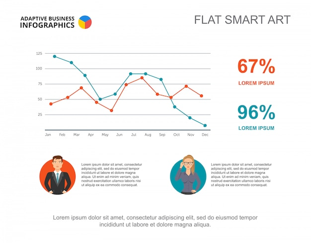 Business infographics with line chart and businesspeople icons.