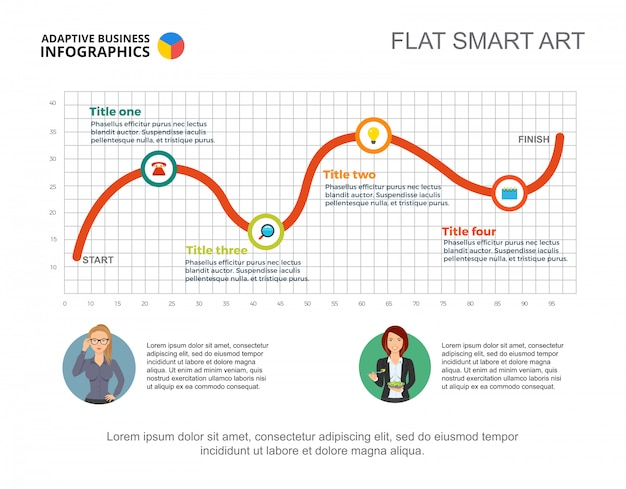 Business infographics with line chart and character icons.