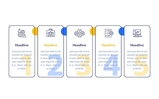 Business infographics with line icons