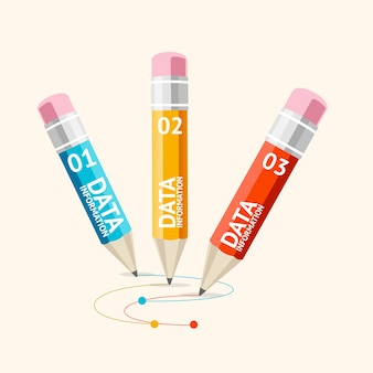 Деловую инфографику с карандашами можно использовать для макета рабочего процесса презентации flat design