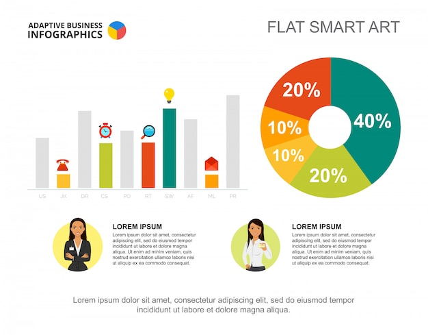 Business infographics with percentage chart, bar graph and character icons.