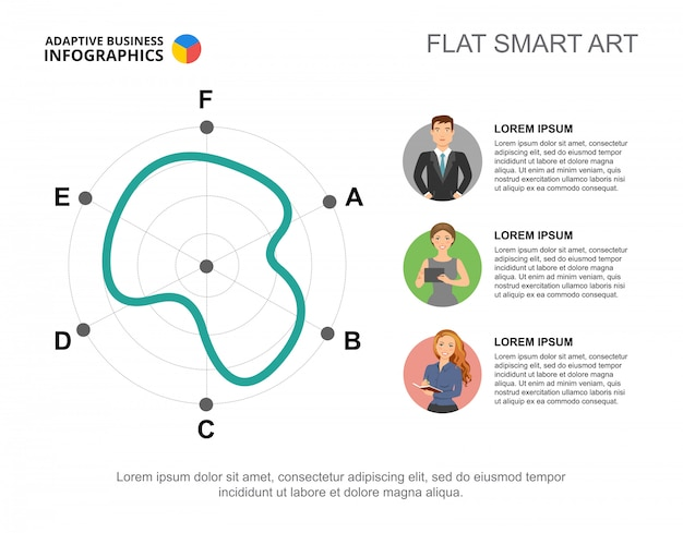 Business infographics with radar chart and character icons.