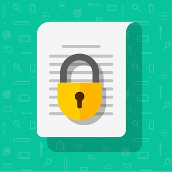 Business information document protection access concept or privacy confidential secret info data file locked