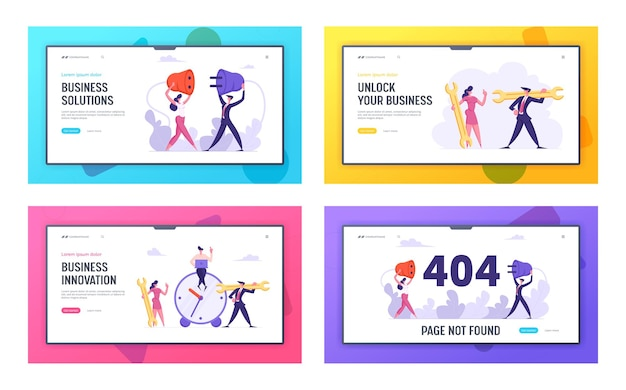 Business innovation and 404 error concept landing page set