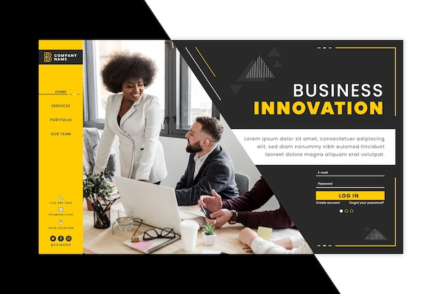 Business innovation landing page template