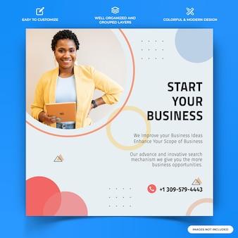 ビジネスinstagramの投稿ウェブバナーテンプレートプレミアムベクトル