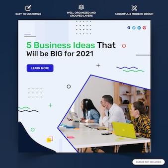 ビジネスinstagramの投稿ウェブバナーテンプレートベクトルプレミアムベクトル