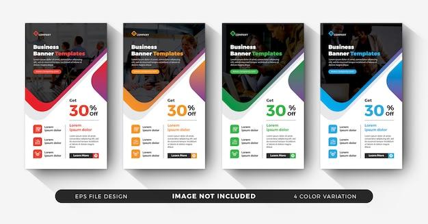 Business instagram stories set with color variation