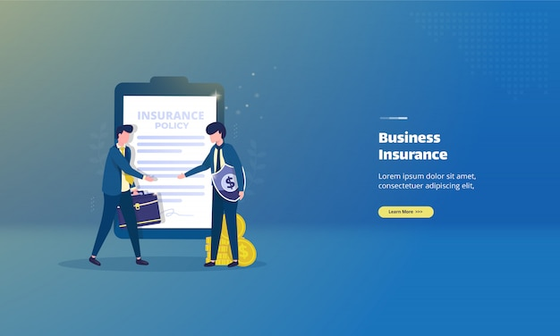 Business insurance agreement on illustration concept