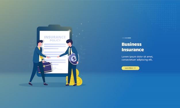 Договор страхования бизнеса на иллюстрации концепции
