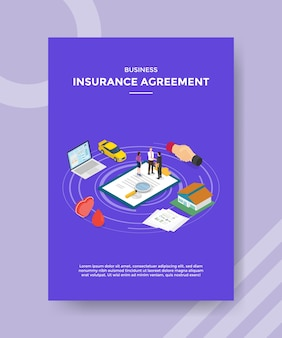 Business insurance agreement people handshake on policy around laptop