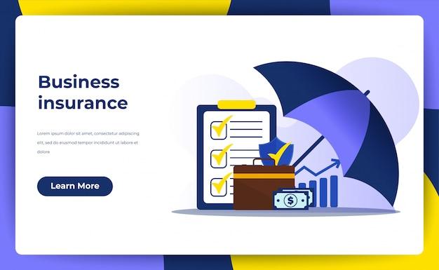 Концепция страхования бизнеса. целевая страница политика гарантия для вашего бизнеса.