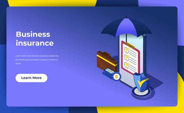 Business insurance concept. landing page policy guarantee for your business.