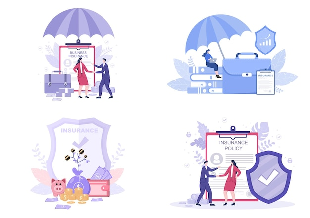 Business insurance illustrations set