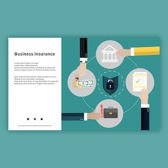 Страхование бизнеса. концепция плоского дизайна иллюстрации целевой страницы для бизнеса, бизнеса в интернете, запуска, электронной коммерции и многого другого