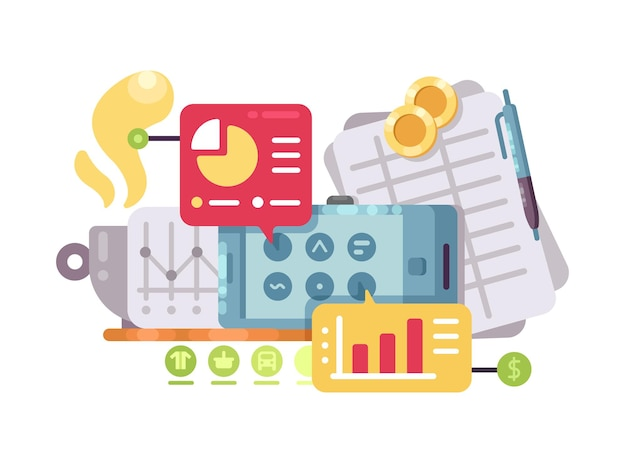 Business intelligence and analysis. statistics graphs and charts. vector illustration