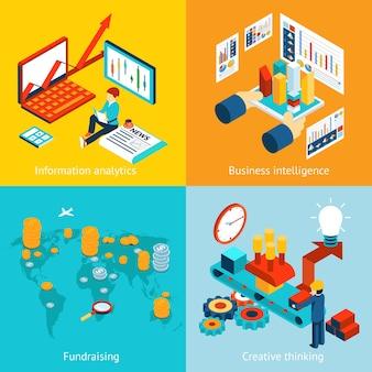 ビジネスインテリジェンスと情報分析、資金調達、創造的思考。レポートチャートグラフウェブインフォグラフィックデータ統計財務、ベクトルイラスト