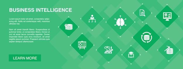 ビジネスインテリジェンスバナー10アイコンconcept.dataマイニング、知識、視覚化、意思決定のシンプルなアイコン