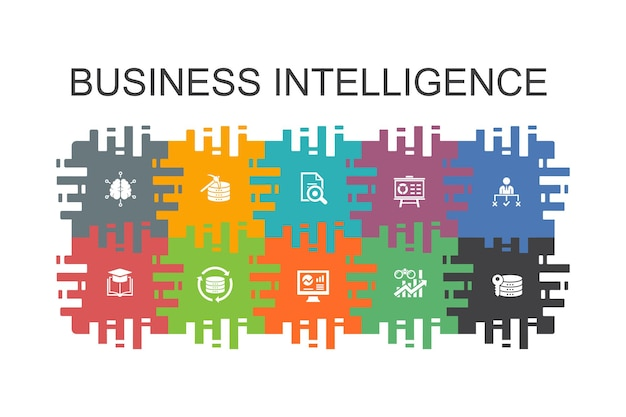 フラットな要素を持つビジネスインテリジェンス漫画テンプレート。データマイニング、知識、視覚化、決定などのアイコンが含まれています