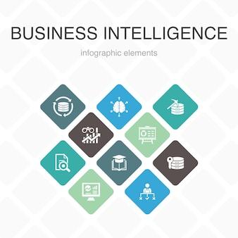 ビジネスインテリジェンスインフォグラフィック10オプションカラーデザイン。データマイニング、知識、視覚化、意思決定のシンプルなアイコン