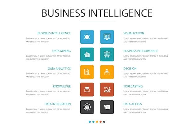 ビジネスインテリジェンスインフォグラフィック10オプションconcept.dataマイニング、知識、視覚化、意思決定のシンプルなアイコン