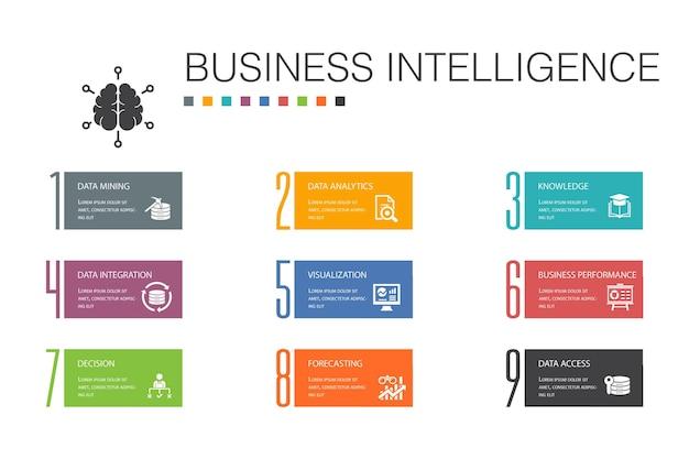ビジネスインテリジェンスインフォグラフィック10オプションラインconcept.dataマイニング、知識、視覚化、意思決定のシンプルなアイコン