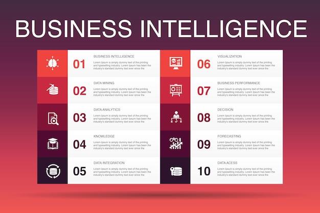 ビジネスインテリジェンスインフォグラフィック10オプションtemplate.dataマイニング、知識、視覚化、意思決定のシンプルなアイコン