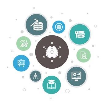 ビジネスインテリジェンスインフォグラフィック10ステップバブルdesign.dataマイニング、知識、視覚化、決定シンプルなアイコン