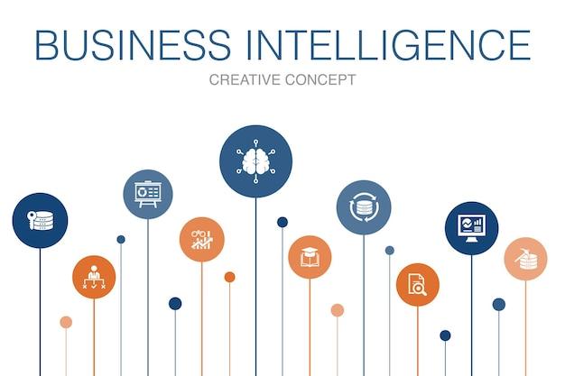 ビジネスインテリジェンスインフォグラフィック10ステップtemplate.dataマイニング、知識、視覚化、意思決定のシンプルなアイコン