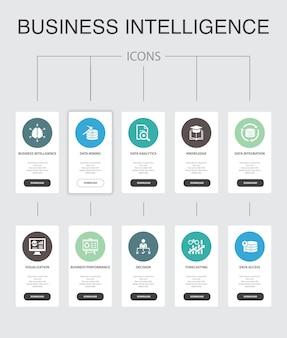 ビジネスインテリジェンスインフォグラフィック10ステップuiデザイン。データマイニング、知識、視覚化、意思決定のシンプルなアイコン
