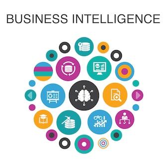 ビジネスインテリジェンスインフォグラフィックサークルの概念。スマートui要素のデータマイニング、知識、視覚化、意思決定