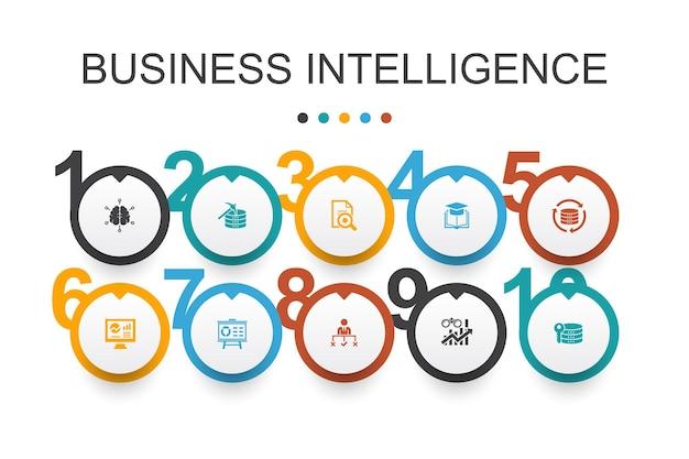 ビジネスインテリジェンスインフォグラフィックデザインtemplate.dataマイニング、知識、視覚化、意思決定のシンプルなアイコン