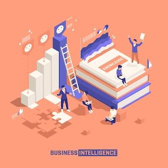 Изометрические бизнес-аналитики с группой креативных персонажей, играющих с элементами головоломки и обучающими материалами