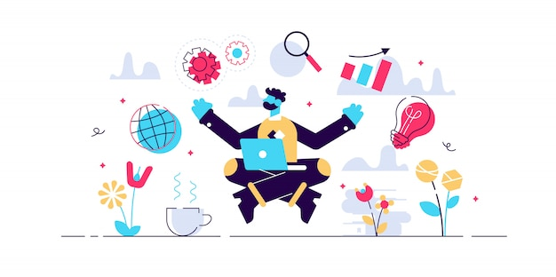 Business internet guru concept, flat tiny person illustration. work stress balance and financial freedom. business man meditating in yoga lotus pose with computer and managing symbolic aspects.