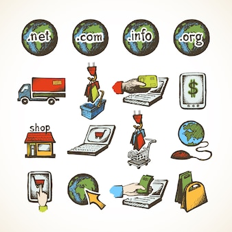 Business internet online shopping icons set of ecommerce retail domains cart purchase and global delivery sketch vector illustration